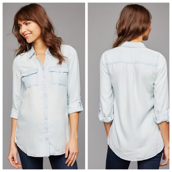 63614783 A Pea in the Pod Tops - A Pea In the Pod Chambray Maternity Shirt